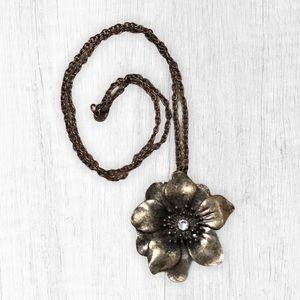 Bronze Flower Long Chain Necklace